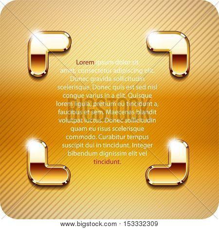 3d Joyful the angular brackets of gold metal. Vector. Eps 10