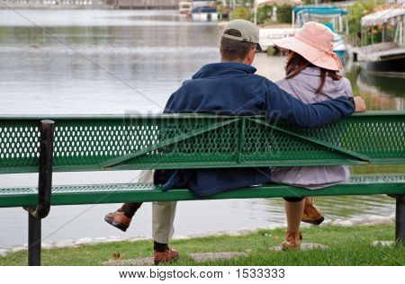 Couple By The Lake  Girl Looks