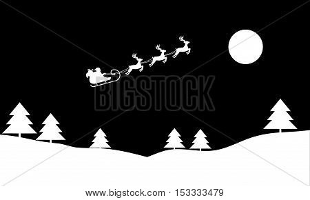Santa Claus rides in a sleigh with their reindeer through the night