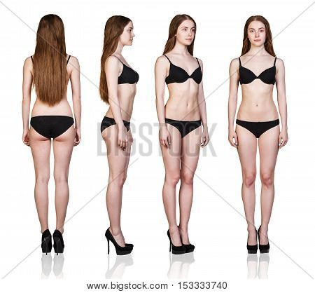 Set of woman full length figures from all angles in black underwear isolated on white background.