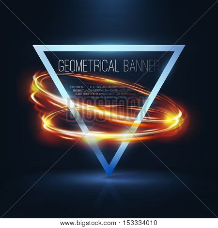 Geometrical banners with orange neon lights . 3d triangle vector banner with fire blurry circles at motion . Light painting on banner .