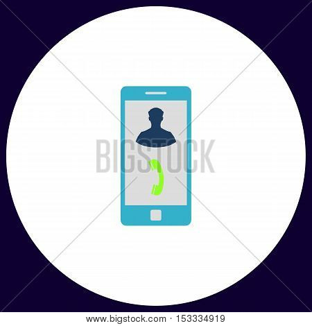 incoming call Simple vector button. Illustration symbol. Color flat icon