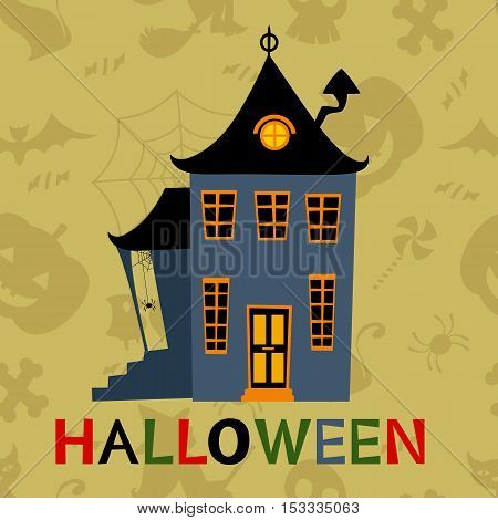 Halloween haunted house card. Vector format illustration