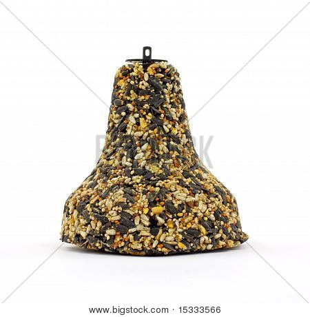 A front view of a bell shaped bird feeder. poster
