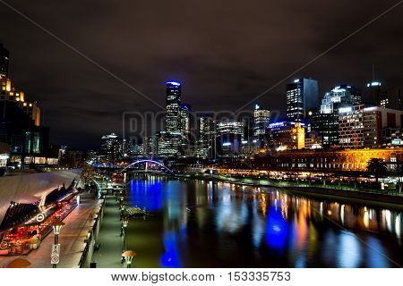 By The Yarra River In Melbourne At Night