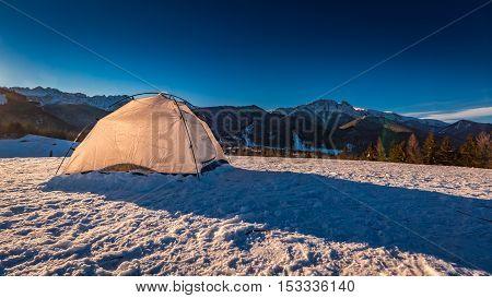 Tent On Mountain Top In Winter In Zakopane, Tatra Mountains, Poland