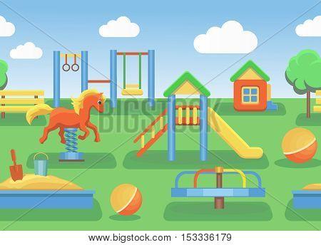 Playground illustration horizontal seamless vector pattern illustration