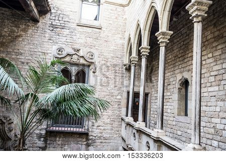Inner Pation In The Gothic Quarters Of Barcelona