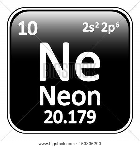 Periodic table element neon icon on white background. Vector illustration.