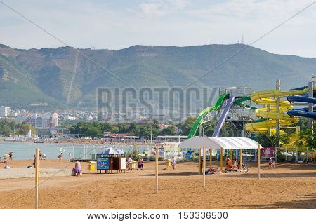 Gelendzhik Krasnodar Krai Russia - August 23, 2016. City beach and aquapark