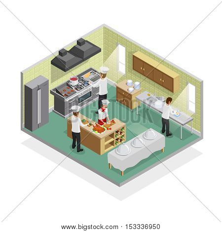Restaurant kitchen isometric concept with slicing ingredients and washing dishes symbols vector illustration