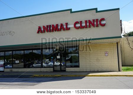BOLINGBROOK, ILLINOIS / UNITED STATES - SEPTEMBER 17, 2016: One obtain veterinary care for one's pet at the Boughton Square Animal Clinic, in Bolingbrook's River Woods Plaza strip mall.