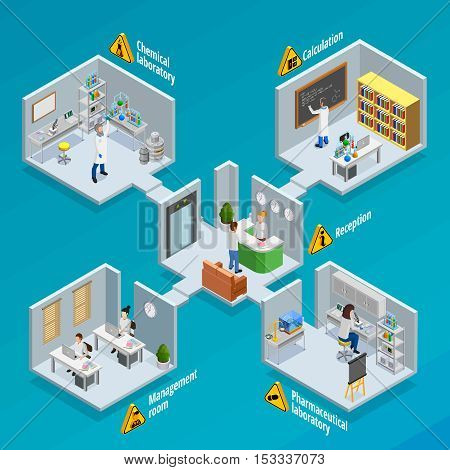 Laboratory and research  concept with chemical and pharmaceutical laboratories isometric vector illustration