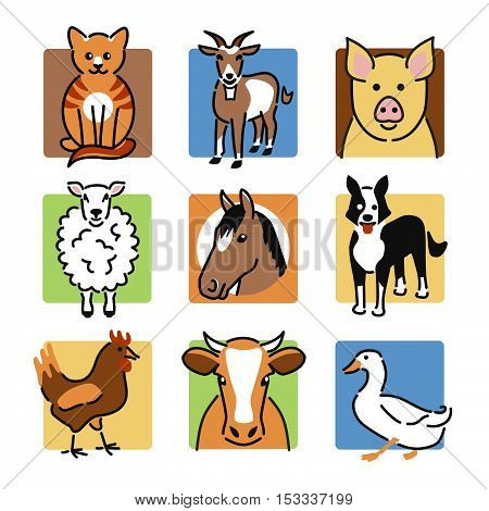 Nine popular farm animals as colour icons