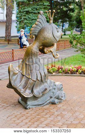 "Sculpture ""Goldfish"" is set to Gelendzhik embankment next to a playground in the area of the Revolutionary street. Gelendzhik Krasnodarsky Krai Russia."