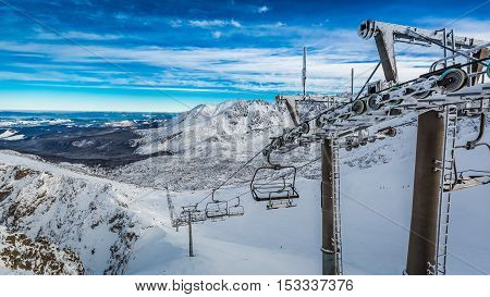 Cableway Covered By Snow In The Tatra Mountains, Poland