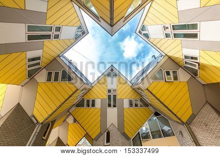 ROTTERDAM; Netherlands - APR 7: Cube houses designed by Piet Blom on April 7; 2015 in Rotterdam; Netherlands. They represents a village where each house is a tree. All the houses together a forest.