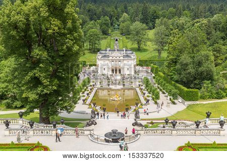 LINDERHOF, GERMANY - JULY 18,2015 - Linderhof Palace is a Schloss in Germany, in southwest Bavaria near Ettal Abbey. It is the smallest of the three palaces built by King Ludwig II of Bavaria