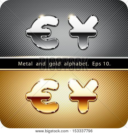 3d  set of chrome metal and gold vector alphabet. Currency symbols dollar and euro. Eps 10.