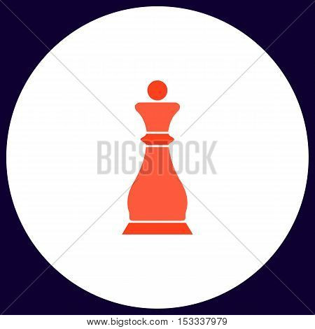 Chess queen Simple vector button. Illustration symbol. Color flat icon