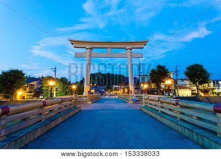 Blue Hour Torii Gate Miyamae Bashi Takayama H