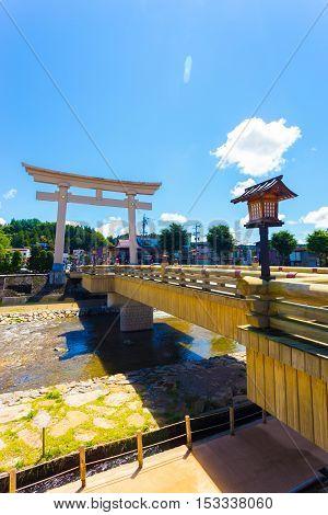 Miyamae-bashi Bridge Torii Gate Takayama Angled V