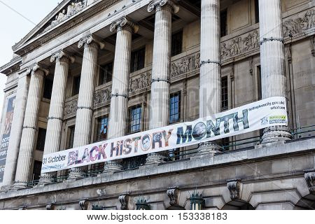 NOTTINGHAM ENGLAND - OCTOBER 22: Black History Month banner on front of Nottingham City Council House. In Nottingham England. On 22nd October 2016.