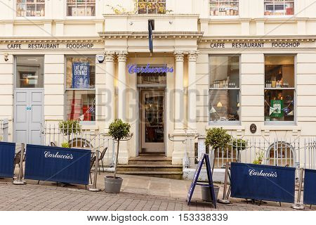 NOTTINGHAM ENGLAND - OCTOBER 22: Frontage of Carluccios restaurant on Low Pavement. In Nottingham England. On 22nd October 2016.