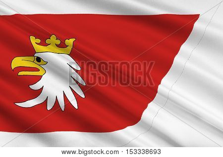 Flag of Warmian-Masurian Voivodeship or Warmia-Masuria Province in northeastern Poland. 3d illustration