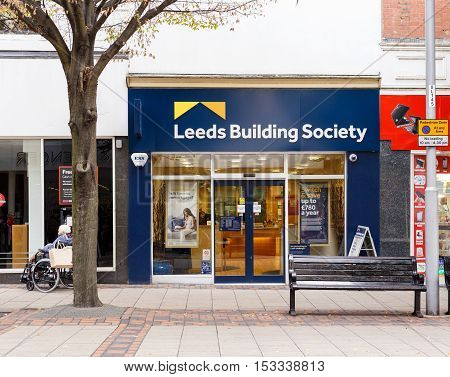 NOTTINGHAM ENGLAND - OCTOBER 22: Frontage of the Leeds Building Society. On Listergate Nottingham England. On 22nd October 2016.