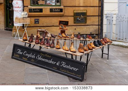 NOTTINGHAM ENGLAND - OCTOBER 22: Exterior retail display of Peter Bullock - shoemaker on Low Pavement. In Nottingham England. On 22nd October 2016.