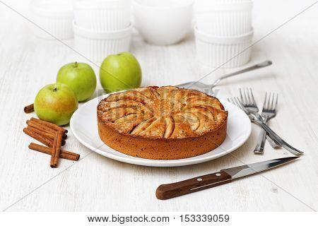 Homemade Apple Pie On White Table