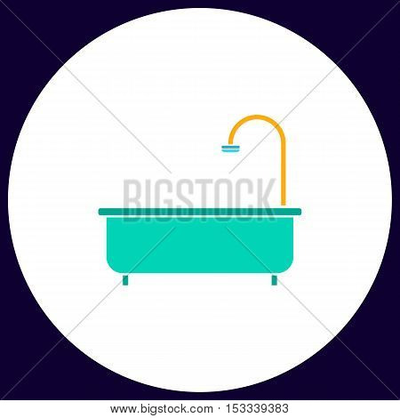 Bathtub Simple vector button. Illustration symbol. Color flat icon