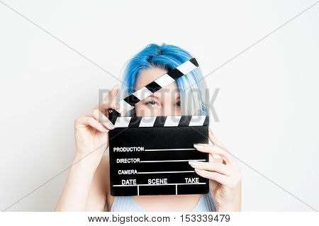 Young Blue Eyes Blonde Woman With Movie Clapper