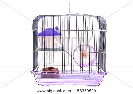 Empty animal cage with house and run wheel isolated on white