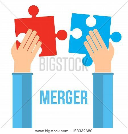 Merger concept. Two businessmans hand trying to connect red and blue puzzles. Vector illustration isolated on white background.