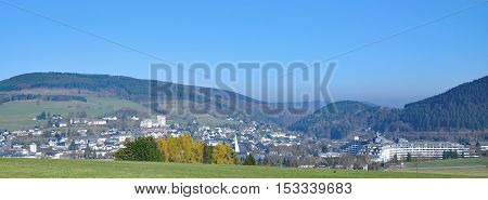 View to Village of Willingen Upland in Sauerland,Germany