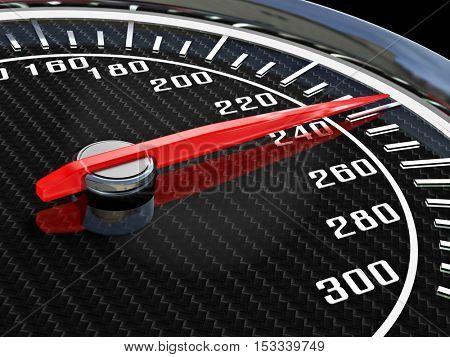 modern carbon Speedometer 3d rendering image