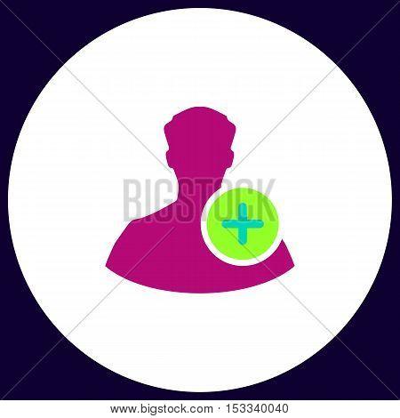 Add user Simple vector button. Illustration symbol. Color flat icon