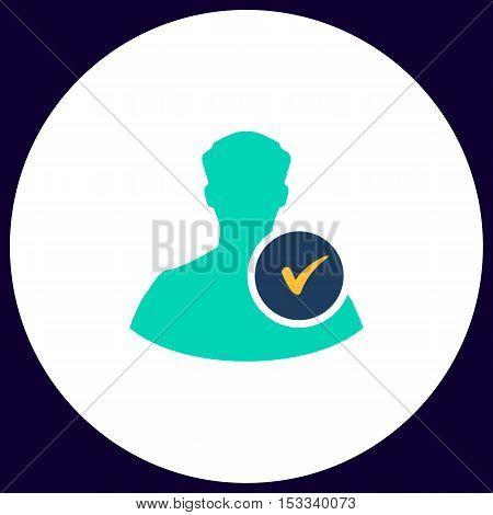 User Simple vector button. Illustration symbol. Color flat icon