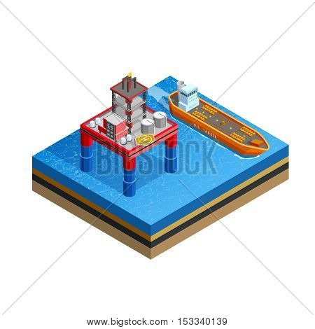 Offshore production platform oil rigs for drilling from seabed and tanker transport isometric icon white background vector illustration
