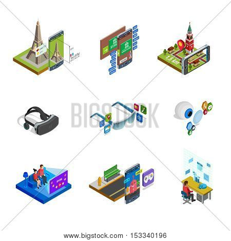 Augmented computer generated modified reality elements gadgets and accessories with smart glasses isometric icons set isolated vector illustration
