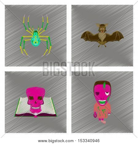 assembly flat shading style icon of spider bat book skull zombie men