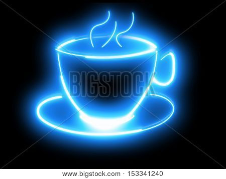 Outline of a coffee cup in neon style.