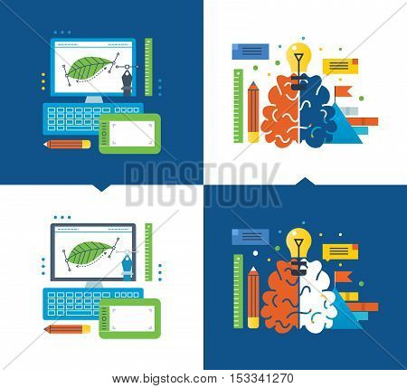 Concept of illustration - graphic design, creativity and creative, online learning design and creative thinking. Vector illustrations are shown on a light and dark background.