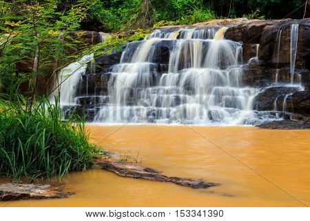 Orange Waterfall In Thailand