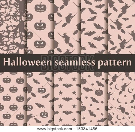 Halloween Seamless Patterns Set. Pattern With Lamp Jack, Bats And Witch. Halloween Symbols. Vector I