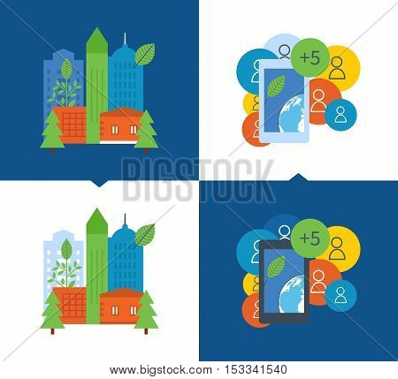 Concept of illustration - environmental projects, ecological city, settlement, ecology and environmental protection. Vector illustration on a light and dark background.