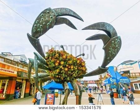 San Francisco California United States of America - May 04 2016: Pier 39 fisherman's wharf at San Francisco on Dec 13 2013. Pier 39 is a famous tourist spot in San Francisco area and usually crowded in the weekend.