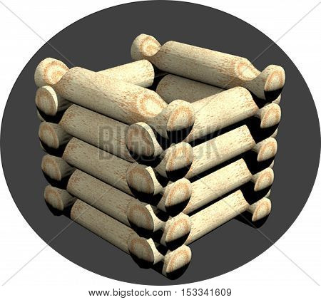 Wooden well, laid out logs. 3D rendering.